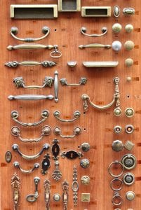Choices of bronze and brass door knobs